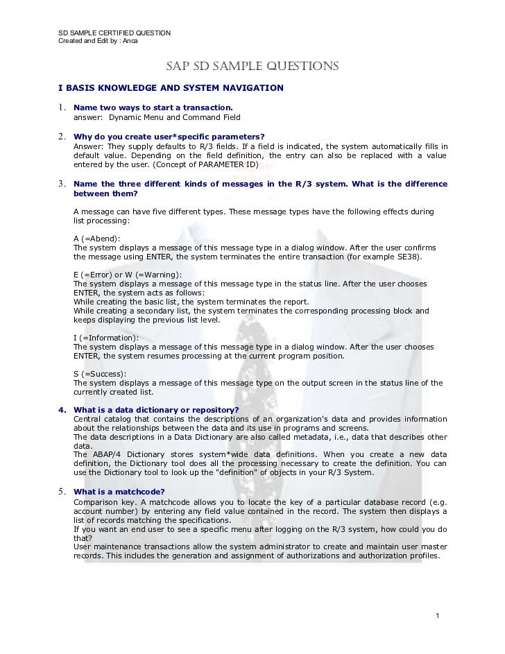 SD SAMPLE CERTIFIED QUESTION Created and Edit by : Anca                                  SAP SD SAmPle QueStionS I BASIS K...