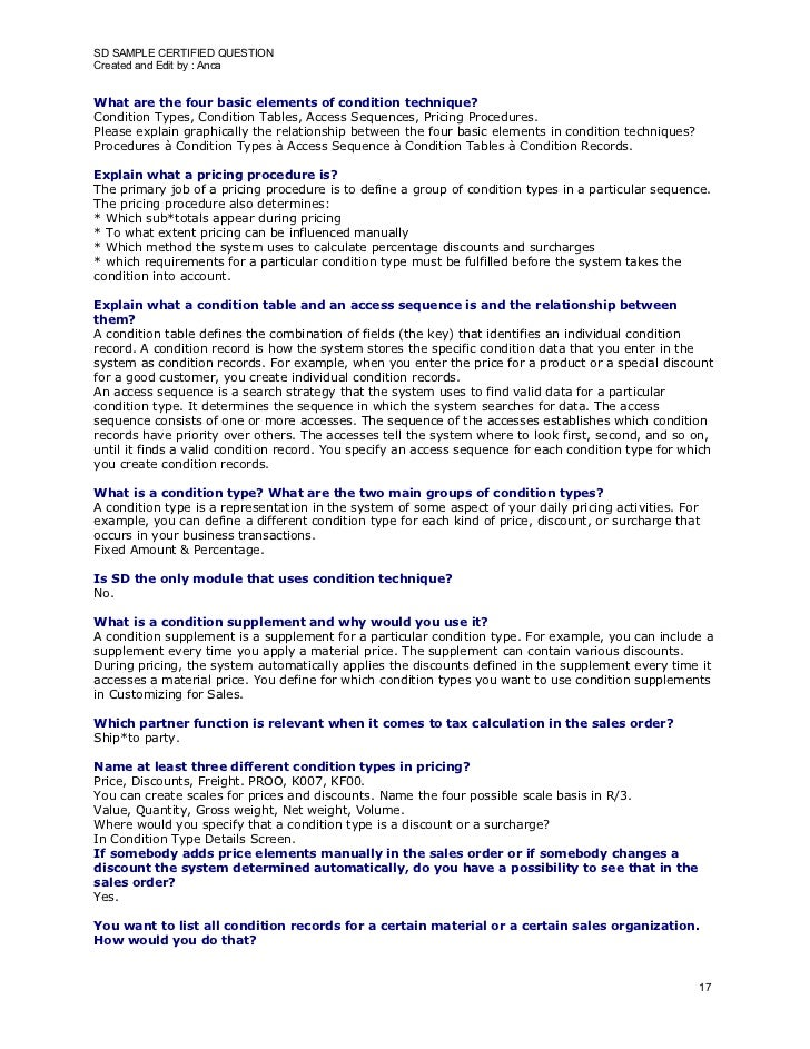 SD SAMPLE CERTIFIED QUESTION Created and Edit by : Anca   What are the four basic elements of condition technique? Conditi...