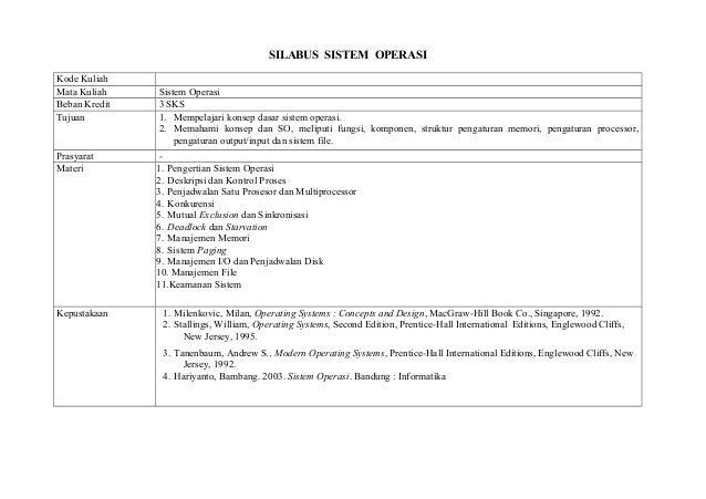 SILABUS SISTEM OPERASI Kode Kuliah Mata Kuliah Beban Kredit Tujuan  Prasyarat Materi  Kepustakaan  Sistem Operasi 3 SKS 1....
