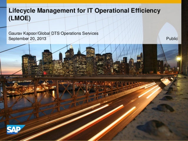 Lifecycle Management for IT Operational Efficiency (LMOE) Gaurav Kapoor/Global DTS Operations Services September 20, 2013 ...
