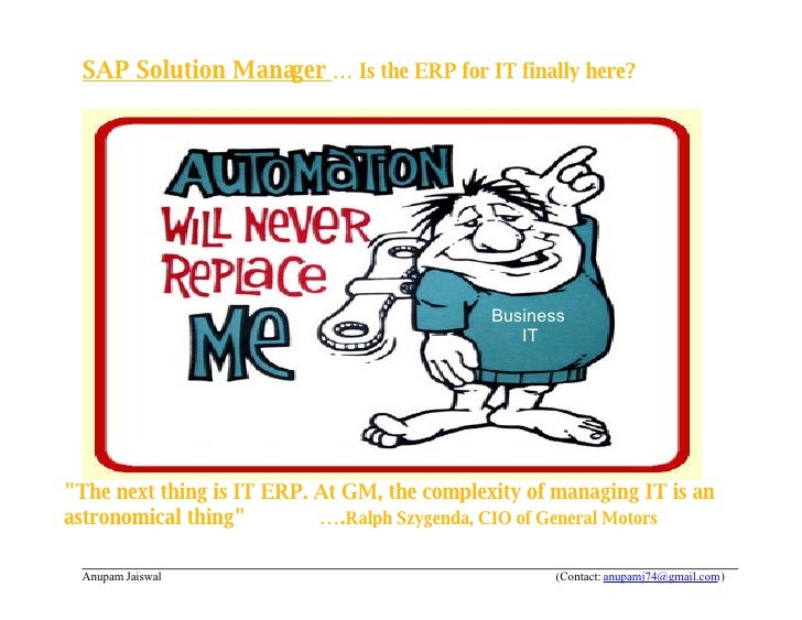 SAP Solution Manager … Is the ERP for IT finally here?                                                  Business          ...