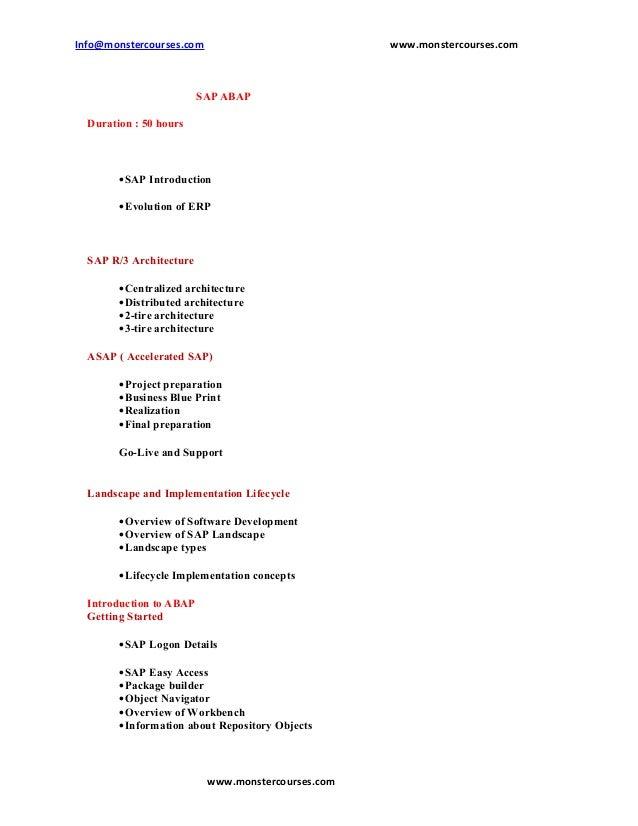 Info@monstercourses.com                            www.monstercourses.com                         SAP ABAP  Duration : 50 ...