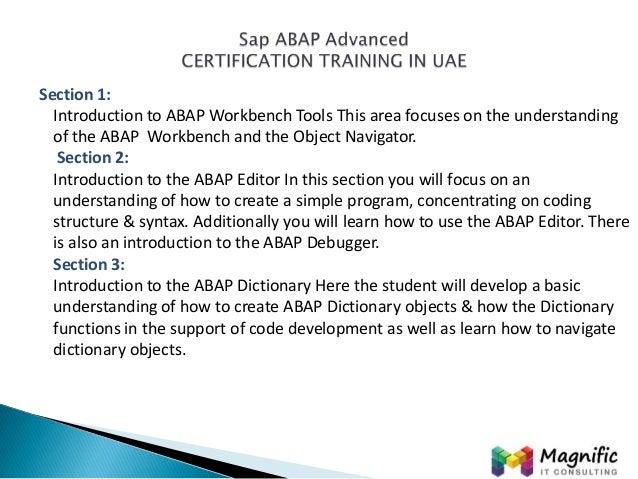 sap abap advanced certification training in uae magnifictraining com