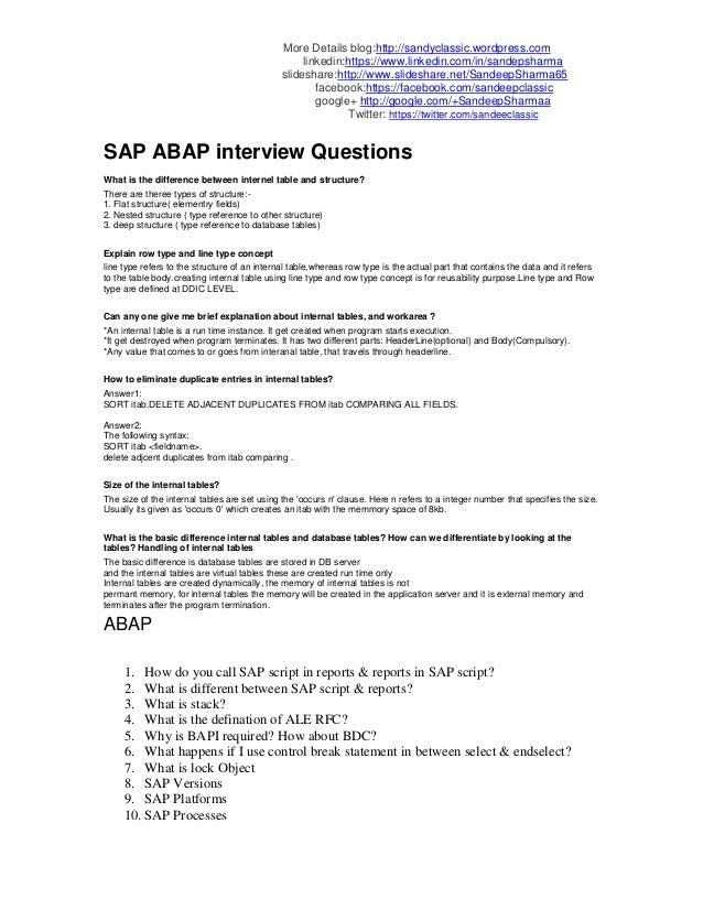 Sap abap interview questions