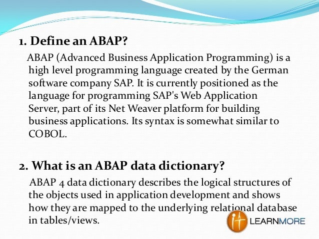 sap abap dictionary interview questions and answers