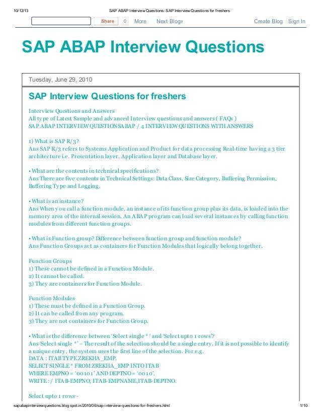 Sap abap interview questions sap interview questions for ...