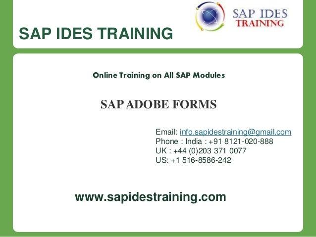 Sap adobe forms online training course content sap ides training