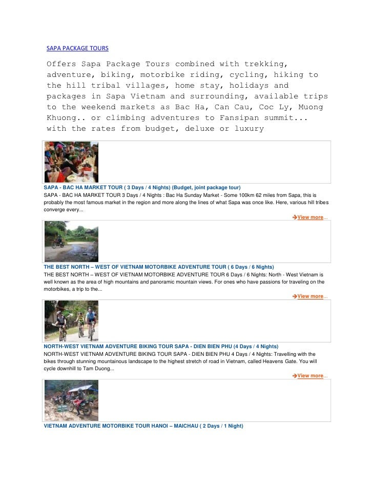 SAPA PACKAGE TOURS Offers Sapa Package Tours combined with trekking, adventure, biking, motorbike riding, cycling, hiking ...