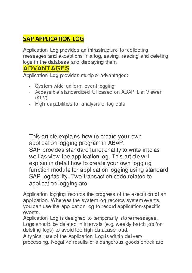 Sap Application Log