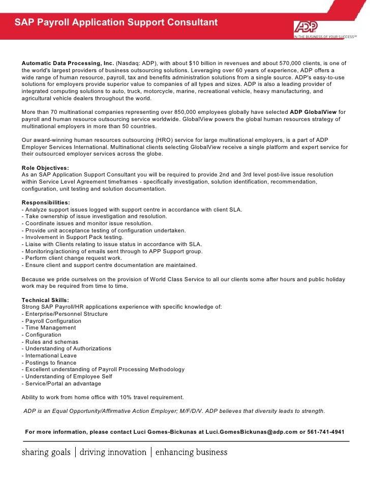 Sap App Support Job Description – Hr Payroll Job Description