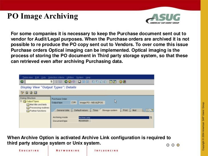 sap archiving link As sap – the archive services for sap product enables archiving printlists, documents, and data (sap transactional data) from sap to a documentum repository cs – documentum content server is an application to create and access documentum content repositories.