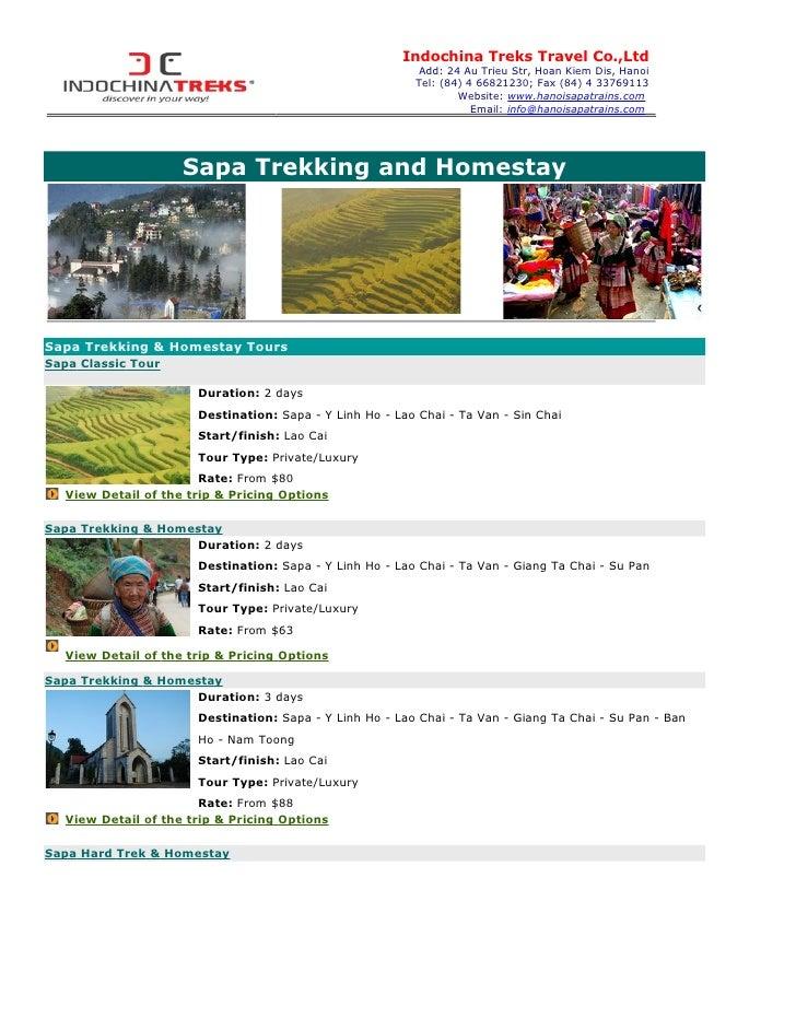 Indochina Treks Travel Co.,Ltd                                                          Add: 24 Au Trieu Str, Hoan Kiem Di...