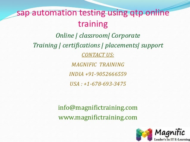 sap automation testing using qtp online training Online | classroom| Corporate Training | certifications | placements| sup...