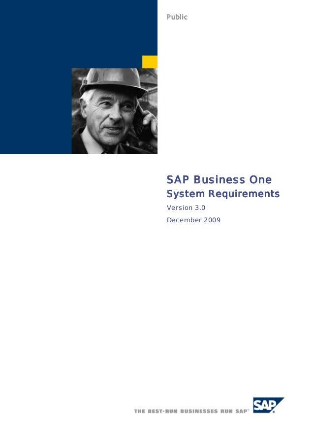 PublicSAP Business OneSystem RequirementsVersion 3.0December 2009