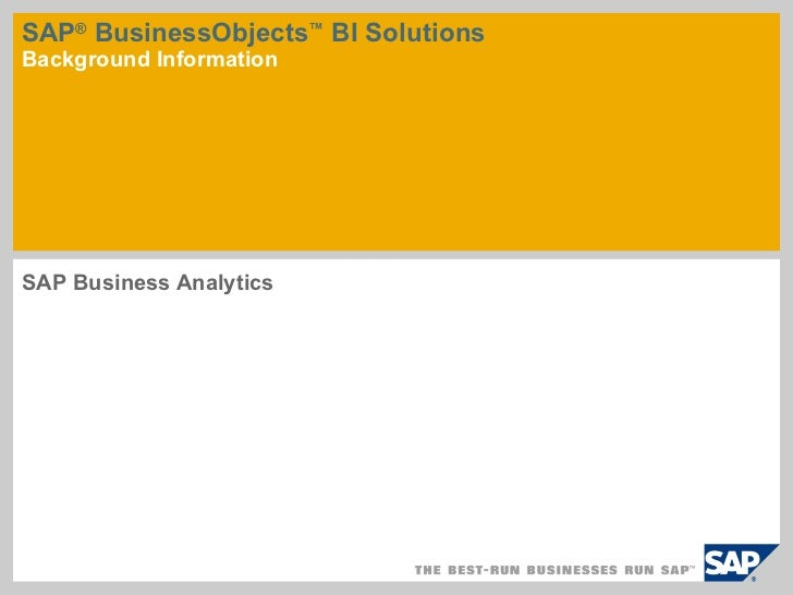 SAP BusinessObjects BI Overview