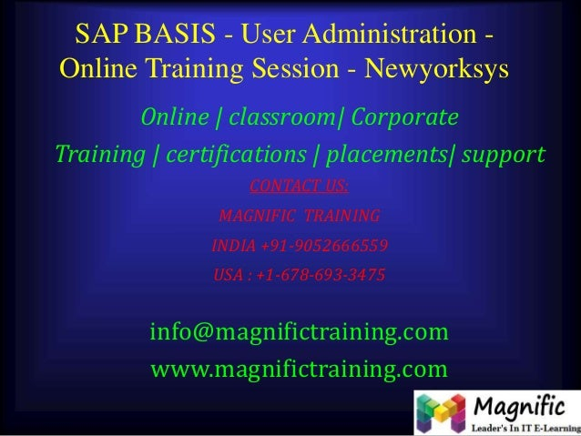SAP BASIS - User Administration - Online Training Session - Newyorksys Online | classroom| Corporate Training | certificat...
