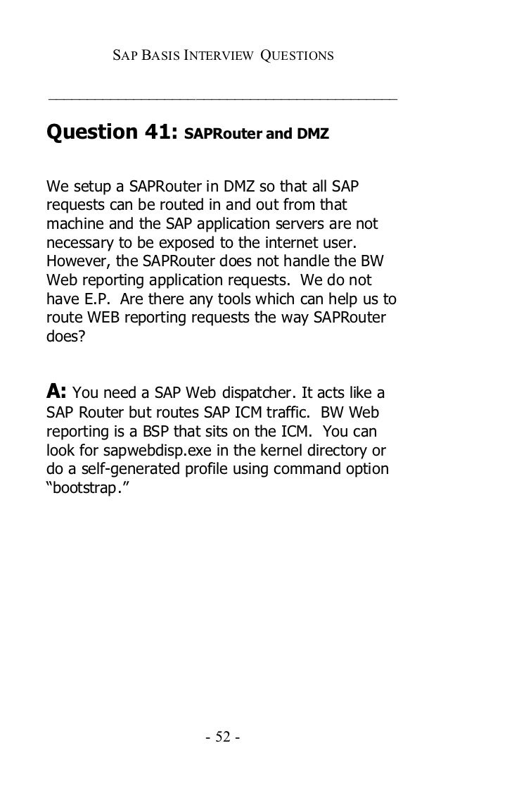 sap basis certification and interview questions answers and 51 52
