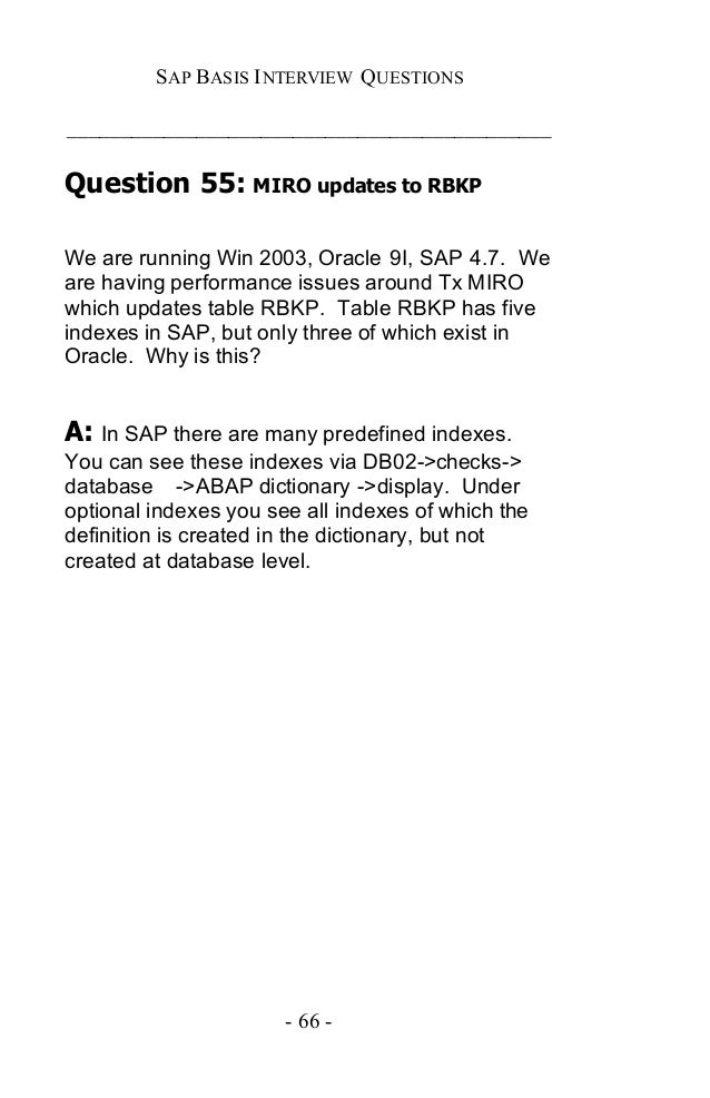 Sap basis certification and interview questions answers