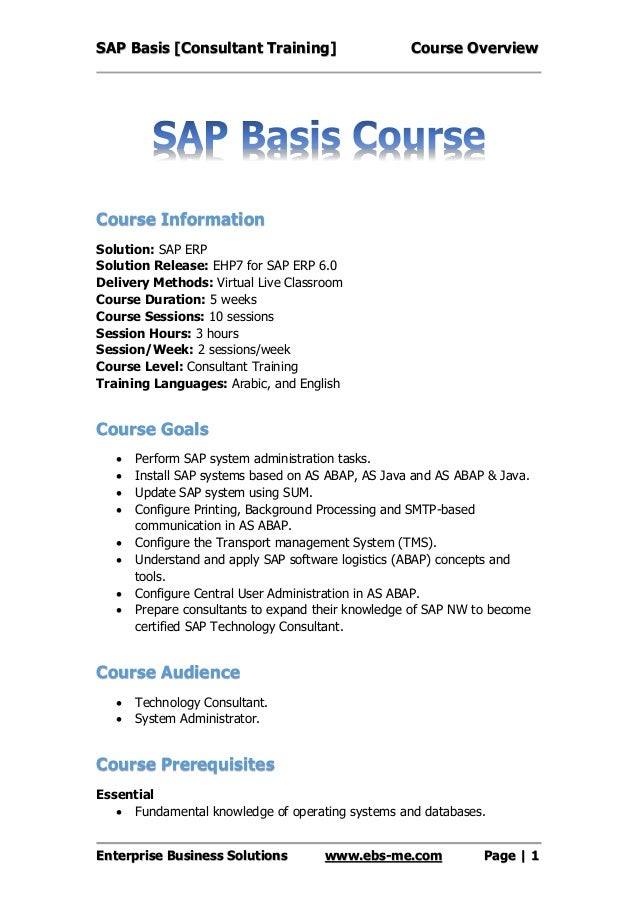 sap basis course overview