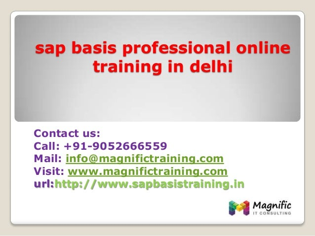 sap basis professional online training in delhi Contact us: Call: +91-9052666559 Mail: info@magnifictraining.com Visit: ww...