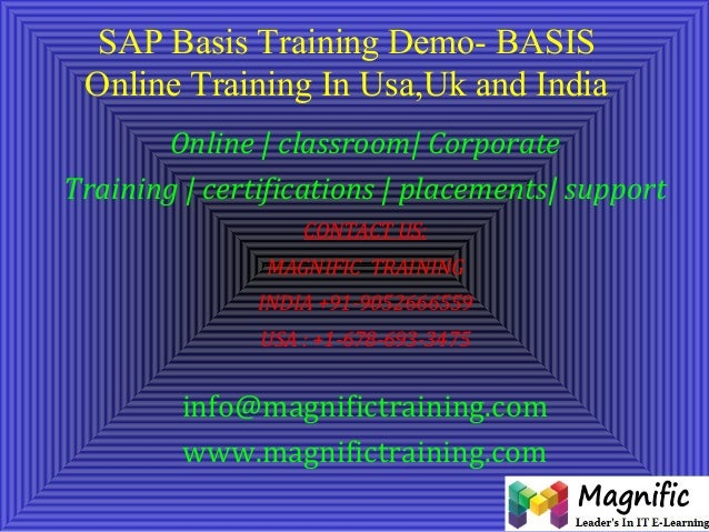 SAP Basis Training Demo- BASIS Online Training In Usa,Uk and India Online | classroom| Corporate Training | certifications...