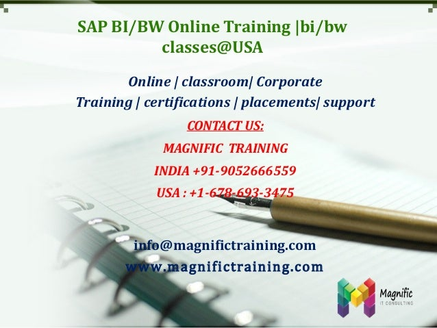 SAP BI/BW Online Training |bi/bw classes@USA Online | classroom| Corporate Training | certifications | placements| support...