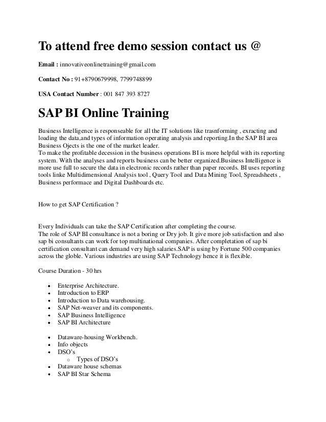 Sap Bibw Online Training Sap Bi Online Training In India
