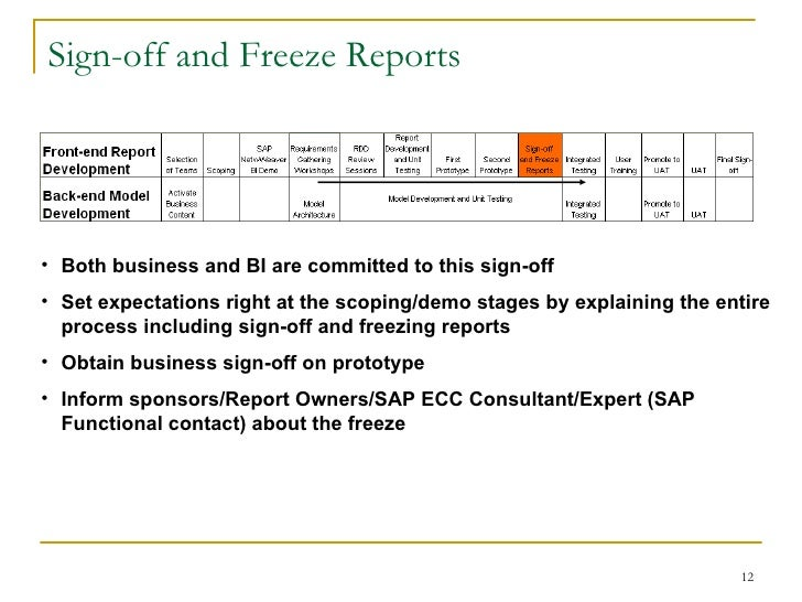 Sap bi requirements gathering process for Sign off template for testing