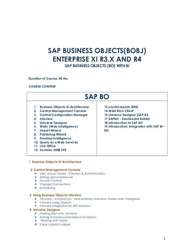 SAP BUSINESS OBJECTS(BOBJ)               ENTERPRISE XI R3.X AND R4                           SAP BUSINESS OBJECTS (BO) WIT...