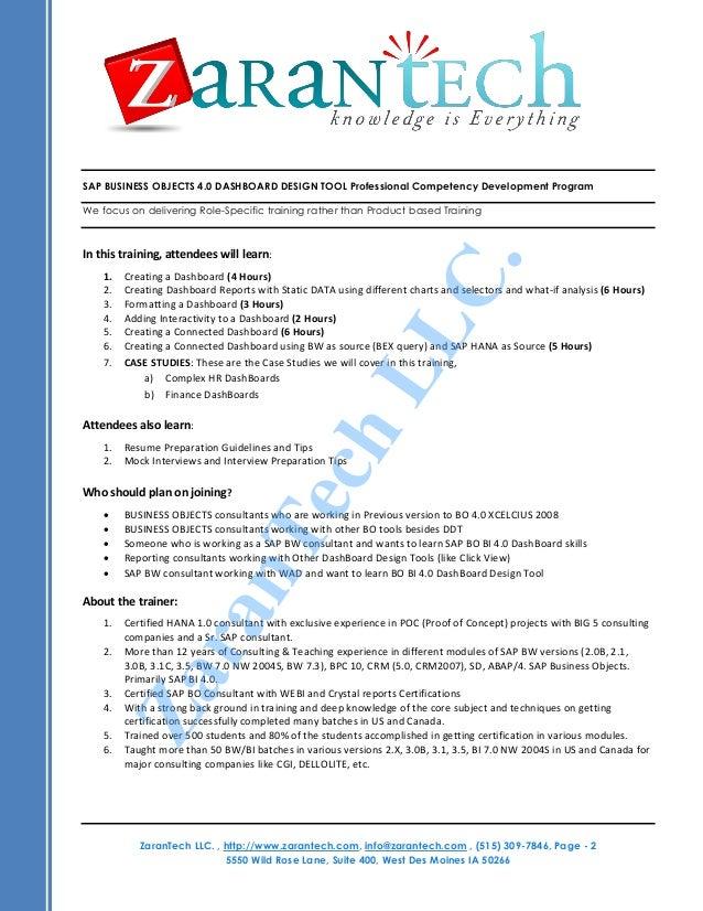 SAP BO DASHBOARD DESIGN TOOL 4.0 Training Program