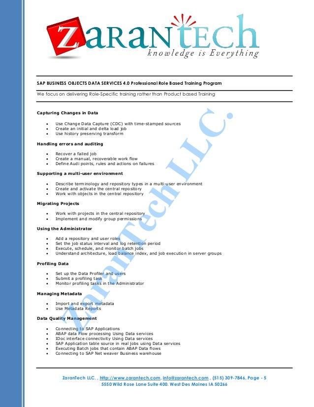Sap Bods Training Course Content From Zarantech
