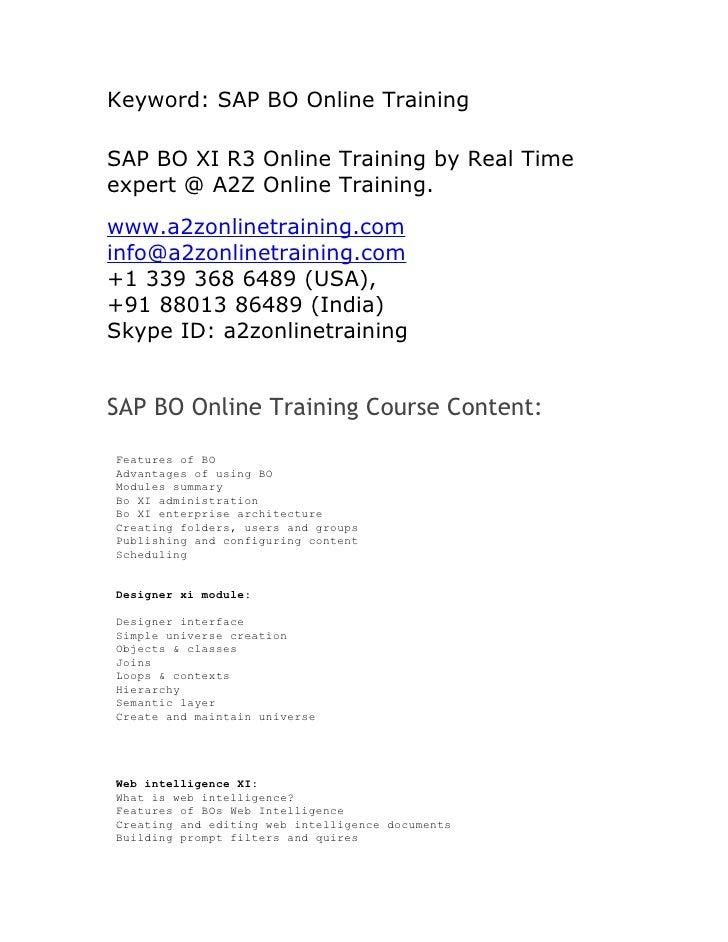 SAP BO Online Training In Hyderabad