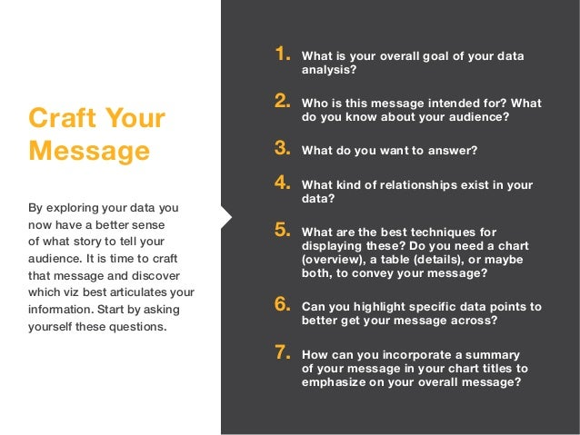 Craft Your Message By exploring your data you now have a better sense of what story to tell your audience. It is time to c...