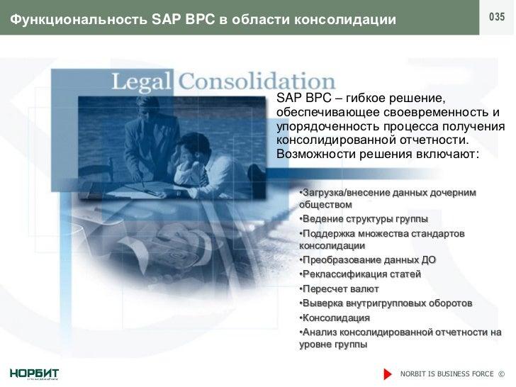 Функциональность SAP BPC в области консолидации                             035                                SAP BPC – г...