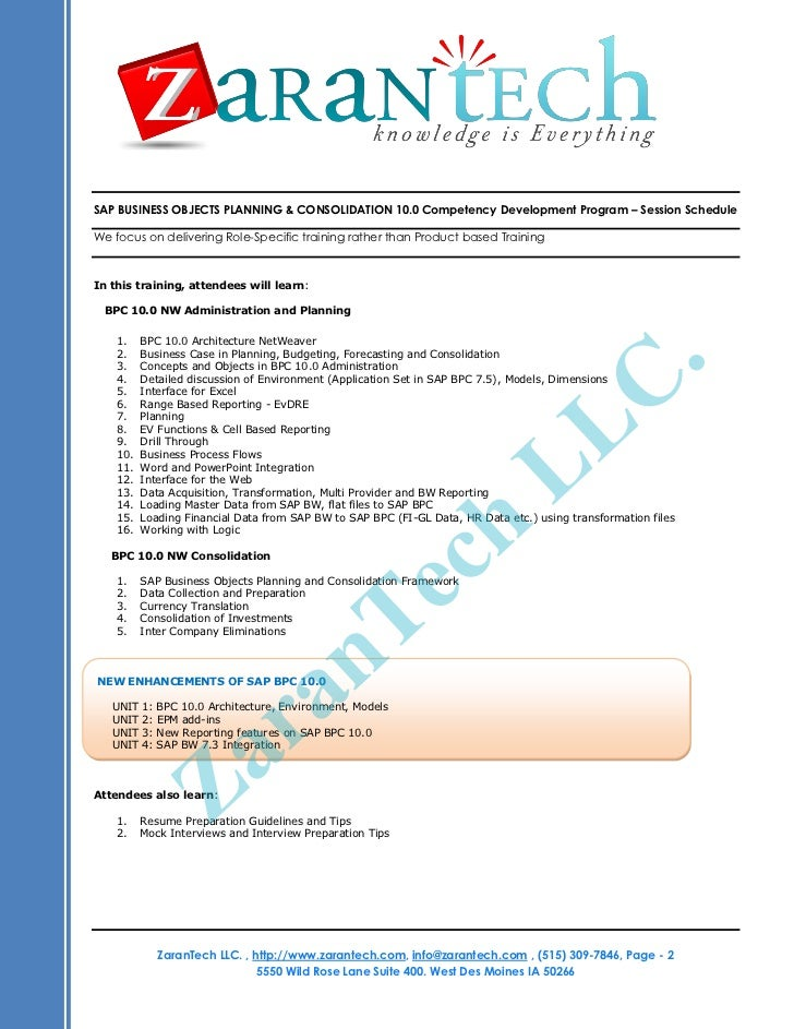 SAP NW BPC 10 0 Online Training Program - ZaranTech