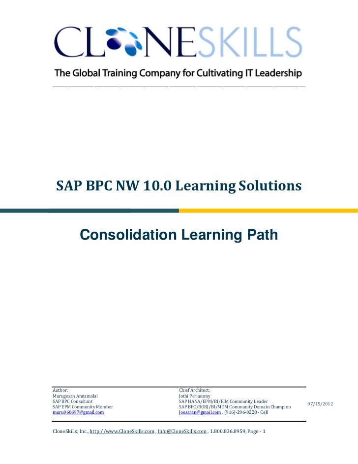 ________________________________________________________________________ SAP BPC NW 10.0 Learning Solutions            Con...