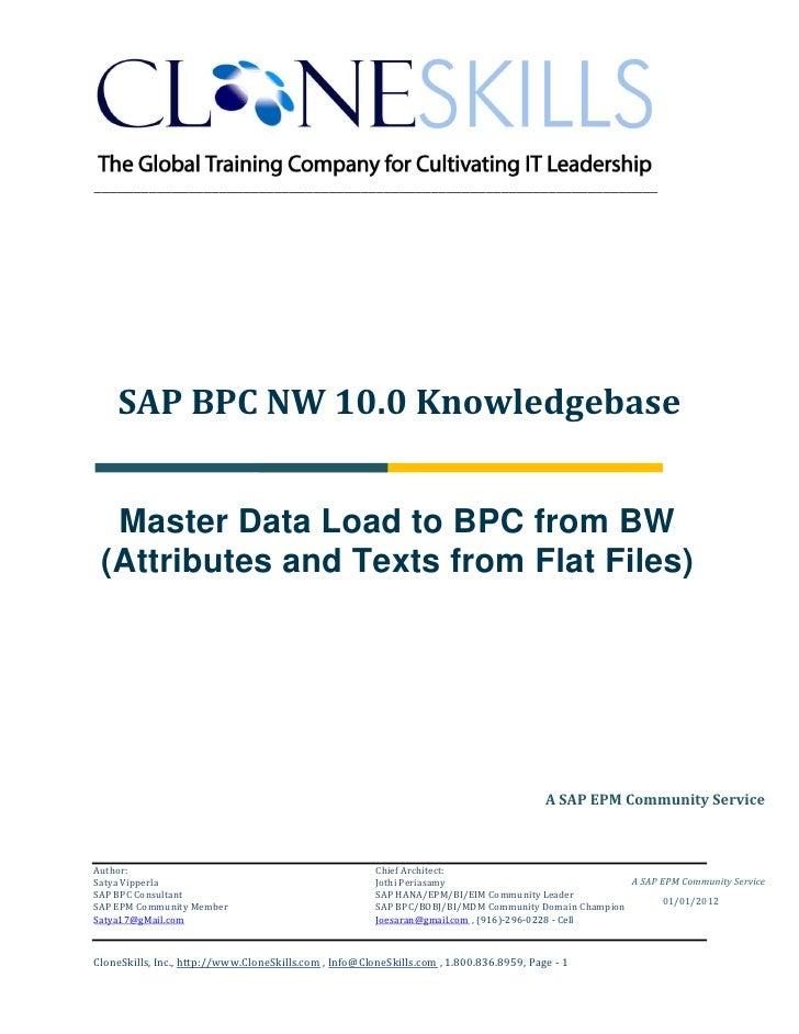 ________________________________________________________________________    SAP BPC NW 10.0 Knowledgebase  Master Data Loa...
