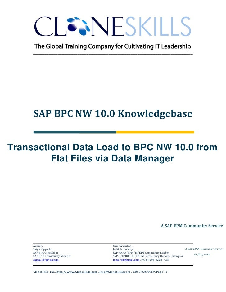 ________________________________________________________________________     SAP BPC NW 10.0 KnowledgebaseTransactional Da...