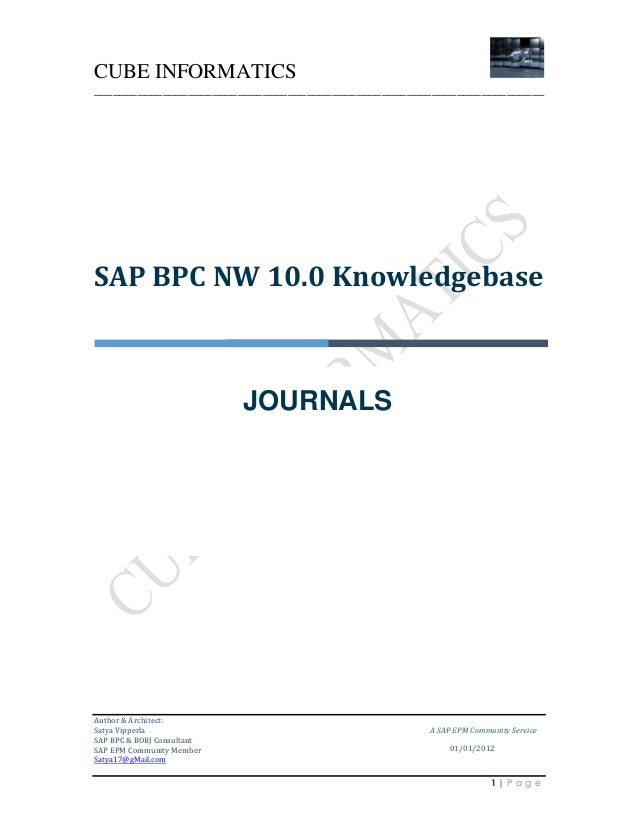 CUBE INFORMATICS ________________________________________________________________________  SAP BPC NW 10.0 Knowledgebase  ...