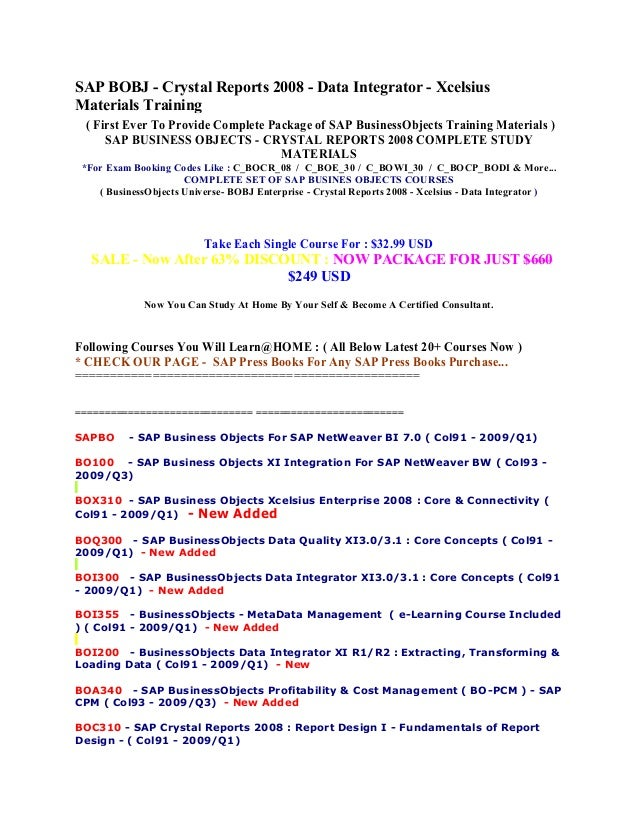 sap business objects complete study materials for exam booking codes rh slideshare net SAP Business Explorer SAP Business Objects