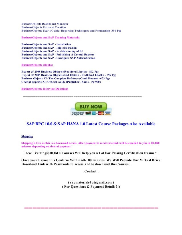 sap business objects complete study materials for exam booking codes rh slideshare net Business Person Icon Business Objects Tutorial