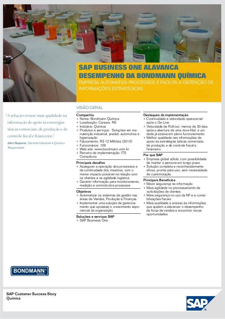 SAP Business One alavanca                                               desempenho da Bondmann Química                    ...