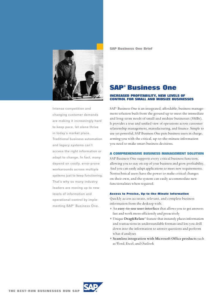 SAP Business One Brief                                         SAP® Business One                                     INCRE...