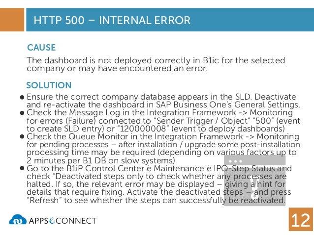 500 SAP INTERNAL SERVER ERROR MEANS - SAP Business One