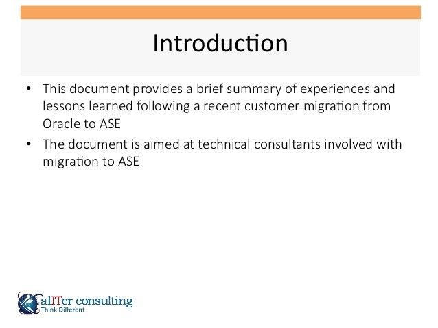 SAP ASE Migration Lessons Learned Slide 2