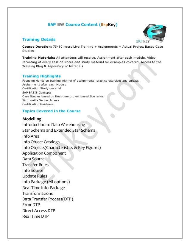 Sap Bw Tutorial Sap Course Content Sap Online Training