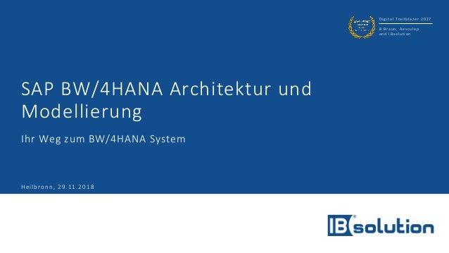 Digital Trailblazer 2017 B.Braun, Aesculap and IBsolution SAP BW/4HANA Architektur und Modellierung Ihr Weg zum BW/4HANA S...