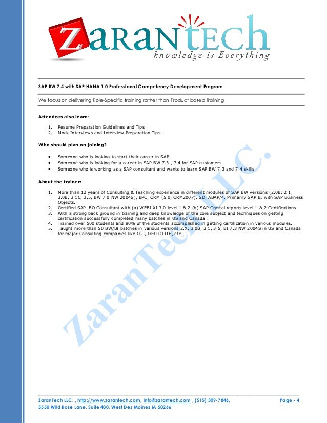 sap and bw resume