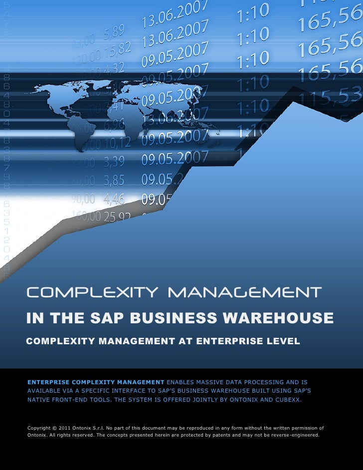 COMPLEXITY MANAGEMENTIN THE SAP BUSINESS WAREHOUSECOMPLEXITY MANAGEMENT AT ENTERPRISE LEVELENTERPRISE COMPLEXITY MANAGEMEN...