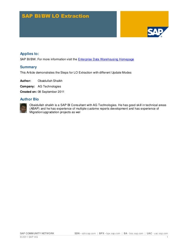 SAP COMMUNITY NETWORK SDN - sdn.sap.com | BPX - bpx.sap.com | BA - boc.sap.com | UAC - uac.sap.com© 2011 SAP AG 1SAP BI/BW...